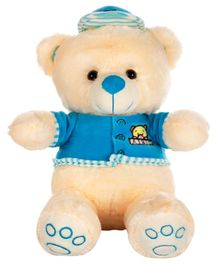 Dhoom Soft Toys Teddy Bear with Dress and Cap Blue - Height 33 cm