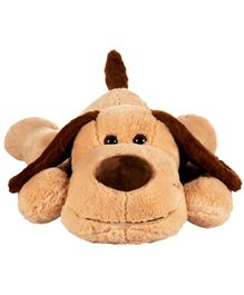 Dhoom Soft Toys Lying Dog with Love Patch Brown - Length 68 cm