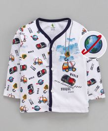 Cucumber Full Sleeves Vest Vehicles Print - White Black