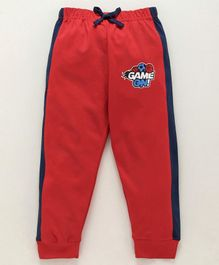 Cucumber Full Length Track Pants With Drawstrings - Blue & Red