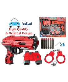 FunBlast Manual Soft Bullet Gun with Bullets, Handcuffs and Telescope - Red