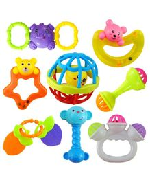 FunBlast Rattles And Teether Set Of 8 - Multicolor