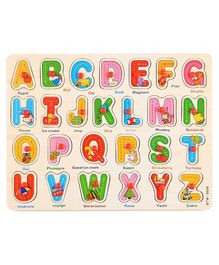 FunBlast Wooden Educational Alphabet Board With Knobs - Multicolor