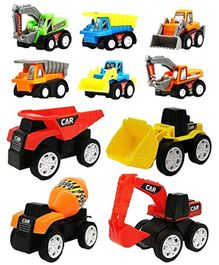 Funblast Pull Back Friction Powered Toy Construction Vehicle Set of 10 - Multicolor