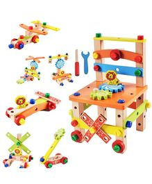 FunBlast Assembling Disassembling Wooden Multifunctional Chair Toy - Multicolor