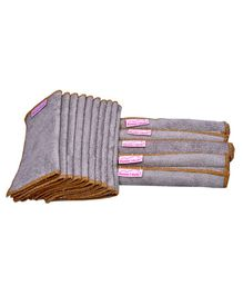 Mumma's Touch Organic Bamboo Wash Cloths Set of 15 - Beige with Light Brown Border