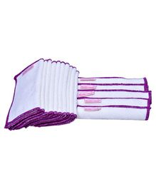 Mumma's Touch Organic Bamboo Wash Cloths Set of 15 - Off White with Purple Border