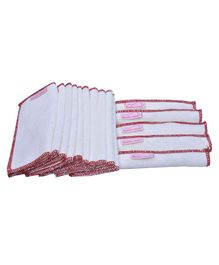 Mumma's Touch Organic Bamboo Baby Wipe Towel Set of 15 - Off White with Red Border