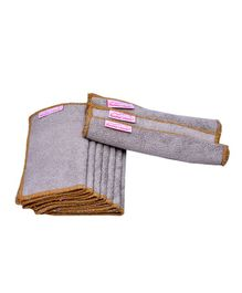 Mumma's Touch Organic Bamboo Wash Cloths Set of 10 - Beige with Light Brown Border
