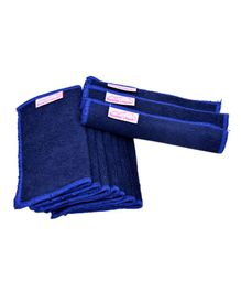Mumma's Touch Organic Wash Cloths Set of 10 - Navy Blue with Blue Border