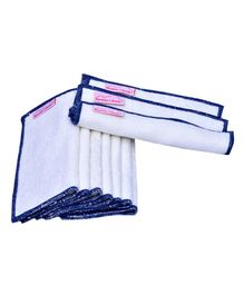 Mumma's Touch Organic Bamboo Wash Cloths Set of 10 - Off White with Grey Border