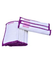 Mumma's Touch Organic Bamboo Baby Wipe Towels Set of 10 - Off White with Purple Border