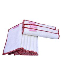 Mumma's Touch Organic Wash Cloths Set of 10 - Off White with Red Border