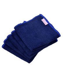 Mumma's Touch Organic Bamboo Wash Cloths Set of 5 - Navy Blue with Blue Border