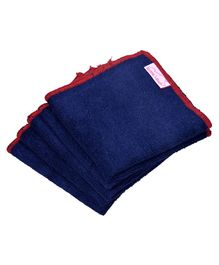 Mumma's Touch Organic Wash Cloths Set of 5 - Navy Blue with Red Border