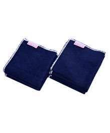 Mumma's Touch Organic Bamboo Wash Cloths Set of 10 - Navy Blue with White Border