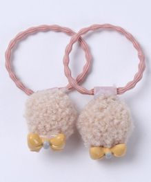 Babyhug Hair Rubber Band With Bow Applique Set of 2 - Peach