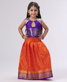 Bhartiya Paridhan Jacquard Design Lehenga Choli Set With Silk Border - Orange Purple
