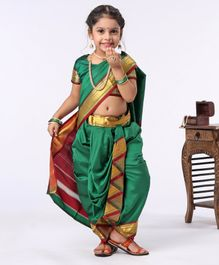Bhartiya Paridhan Ethnic Saree & Blouse With Jari Border - Dark Green