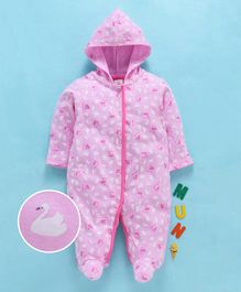 Baby Naturelle & Me Full Sleeves Hooded Romper Swan Print - Pink