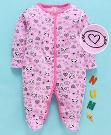 Baby Naturelle & Me Full Sleeves Footed Romper Multi Print - Pink