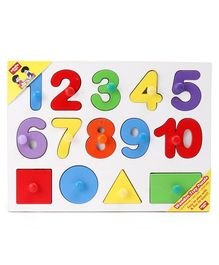 Anindita Wooden Numbers 1 to 10 & Shapes Puzzle Multicolor - 14 Pieces