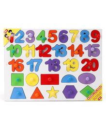Anindita Wooden 1 to 20 Numbers & Shapes Puzzle Multicolor - 30 Pieces