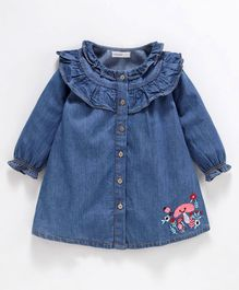 Babyoye Cotton Denim Full Sleeves Frock Mushroom Embroidered - Blue
