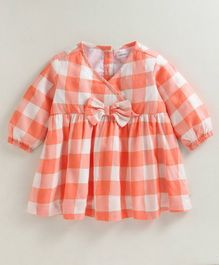 Babyoye Full Sleeves Buffalo Checks Cotton Frock - Coral