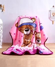 Babyhug Embossed Blanket Bear Print - Light Pink