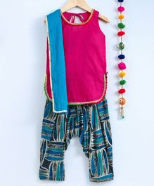 Kidcetra Sleeveless Kurta With Leaves Printed Salwar & Contrast Dupatta - Blue & Pink