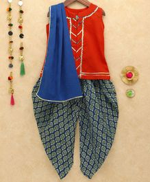 Lil Pitaara Sleeveless Kurta With Lace Detailing & Floral Butti Print Dhoti With Dupatta - Red & Blue