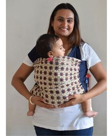 Anmol Baby Carrier Ajrakh Flower Star Rangoli Hybrid Wrap - Blue