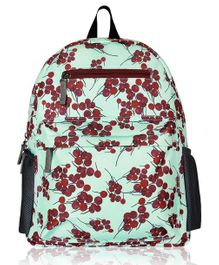 Lost & Found Cherry Print Water Resistant Diaper Backpack - Sea Green
