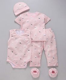 MFM 5 Piece Baby Clothing Set Bunny Print - Pink