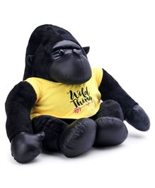Dimpy Stuff Gorilla Soft Toy With T Shirt Black Yellow - Height 42 cm