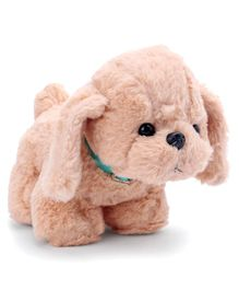 Dimpy Stuff Puppy Soft Toy With Collar Peach - Height 22 cm