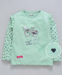 Olio Kids Full Sleeves Top Animal Print - Mint Green