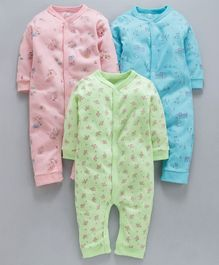 I Bears Full Sleeves Rompers Pack of 3 - Green Blue & Pink