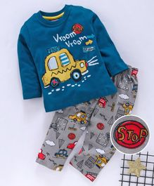 Babyhug Full Sleeves 100 % Cotton Night Suit Car Print - Blue Grey