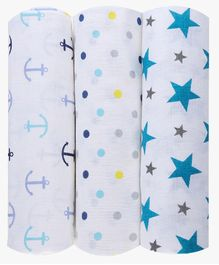 Haus & Kinder Muslin Swaddle Wrap for Newborn Baby Twinkle Collection Turquoise - Pack of 3