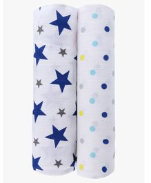 Haus & Kinder Muslin Swaddle Wrap for Newborn Baby Twinkle Collection Navy Blue - Pack of 2