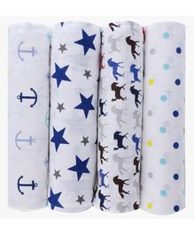 Haus & Kinder Cotton Muslin Swaddle Wrap Anchor Dots Horse and Star Print Pack of 4 - White