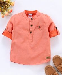 Babyhug Full Sleeves Solid Color Shirt - Peach