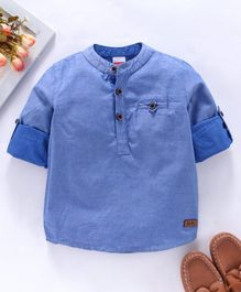 Babyhug Full Sleeves Solid Color Shirt - Blue