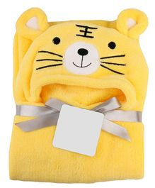My NewBorn Hooded 2 In 1 Baby Blanket Cum Wrapper Tiger Design - Yellow