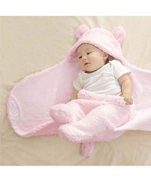 My NewBorn Hooded 2 In 1 Baby Blanket Cum Wrapper Panda Design - Pink