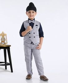 Robo Fry Full Sleeves Shirt With Trouser & Waistcoat Bow Applique - Blue Grey