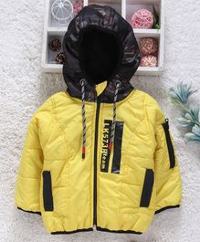 Little Kangaroos Full Sleeves Quilted Hooded Jacket - Yellow Black