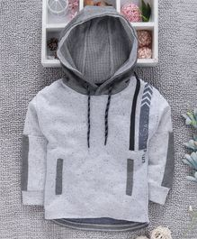 Little Kangaroos Full Sleeves Hooded Looper Sweatshirt - Grey
